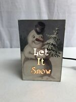 "Wooden Nightlight Box Winter ""LET IT SNOW"" Snowman Scene 6x4x2 3/4 Roller Switch"
