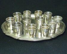 Vintage Solid Silver Hallmarked Set 12 Shot Cups & Tray - Weight 330g - c1900