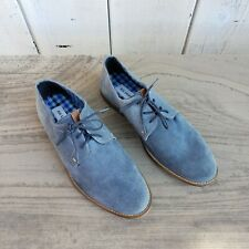 Ben Sherman Blue Suede Leather Oxford Mens Shoes Size US 9.5 UK 8.5 EUR 42.5