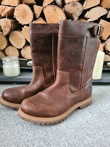 TIMBERLAND WOMENS NELLIE PULL ON WATERPROOF BIKER BOOTS - BROWN  SIZE UK 6 eu 39