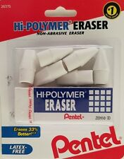 Pentel Hi Polymer Bar Eraser Plus 6 Pencil Cap Erasers Non Abrasive Latex Free