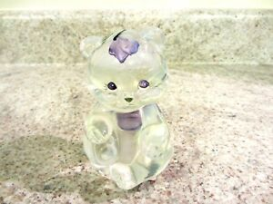 """Fenton Glass French Opalescent Handpainted Lavender Petals 3 1/2"""" Sitting Bear"""