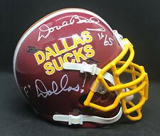 """Dave Butz Signed Dallas Sucks Custom Mini w """"F' Dallas Inscription"""