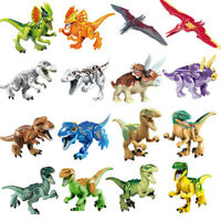 16 Jurassic Dinosaur Figure Miniature Building Block Toy T-Rex Indoraptor Set