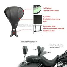 Black Adjustable Stitched Rider Backrest For Harley Touring  Models 1998-2008