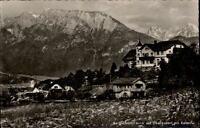 Oberaudorf Postkarte 1958 gelaufen Partie am Bergschlößl Blick auf Kaiser Dorf