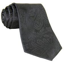 New Men's Polyester Woven Neck Tie necktie only dark gray paisley prom wedding