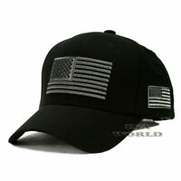 USA AMERICAN Flag Hat Tactical Military Snapback Cotton Baseball Cap- Black