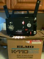 Elmo K-110SM Dual Type 8Mm Film Movie Projector W/Manual FOR PARTS OR REPAIR