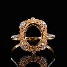 Genuine Diamond Semi Mount Ring Settings Oval Cut 10×8MM Solid 14K 2 Tone Gold