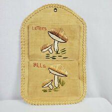 Vintage Rattan Wall Pocket Organizer Holder Bill Letters Mushrooms Boho
