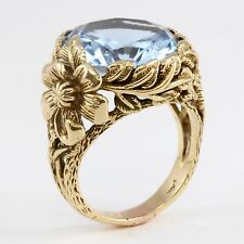 UNIQUE 10k Yellow Gold Synthetic Blue Stone Flower Pattern Large Heavy Wide Ring