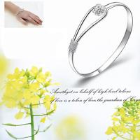 925 Sterling SILVER PLATED Cuff Bracelet Bangle Wristband Women Fashion Jewelry