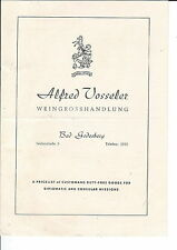 MC-148 - 1950's Alfred Vosseler Wine Price List for Diplomatic Consular Missions