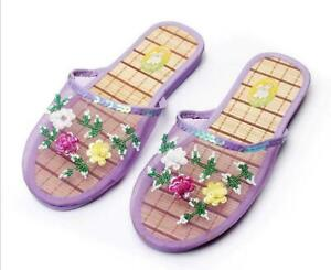 Women Chinese Mesh Floral Slippers Slides Slip On Flats Loafers Mules Shoes Size