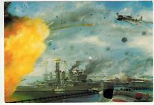 Navy Postcard BATTLESHIP ROW PEARL HARBOR by DeRossett USS Arizona Tennessee etc