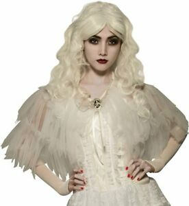 White Witch Capelet Cape Ghost Fancy Dress Up Halloween Adult Costume Accessory
