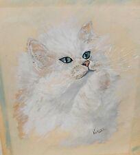 NORINE LAHTELA WHITE FLUFFY GREEN EYE CAT ORIGINAL WATERCOLOR ON PAINTING