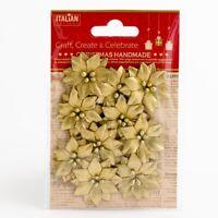 Poinsettias Metallic Gold Xmas Christmas Embellishments 10 Pack XM015
