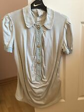 Mercibeaucoup pale blue short sleeve w/ collar relaxed cotton shirt Womens XS