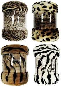 Printed ANIMAL Skin Throw Faux Fur Mink Blanket Warm Sofa Bed Single Double king