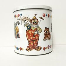 Vintage JL Clark Clown Circus Animals Metal Canister Tin with Lid
