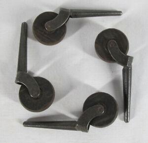 "Antique Furniture Caster Set of 4 Cast Iron Stems Wooden 1 1/2"" Wheels yqz"