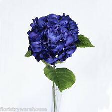 Artificial Silk Dark Blue Giant Hydrangea 70cm Single Stem Wedding Flowers