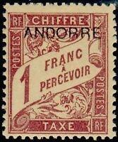 """ANDORRE FRANCAIS STAMP TIMBRE TAXE N° 6 """" TIMBRE DE 1893 1F """" NEUF xx LUXE"""