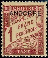 "ANDORRE FRANCAIS STAMP TIMBRE TAXE N° 6 "" TIMBRE DE 1893 1F "" NEUF xx TTB"