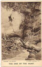 SUPERB POSTCARD - END OF THE HUNT - HYAENA DEN - WOOKEY HOLE - SOMERSET C.1935