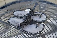 A+ Alegria Carina Beaded Rope Sandals Leather Shoes 38 7.5-8 CAR-820 Black Thong