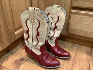 WOMENS FRYE WESTERN COWGIRL BOOTS SIZE 7 B. Red and beige