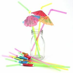 Umbrella Parasol Party Straws 6pk Hawaiian/Luau/Tropical/Flamingo Party Supplies