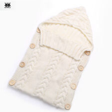 Beautiful BABY Hooded Sleeping Bag Soft Wool Cable KNIT Newborn Cream Color