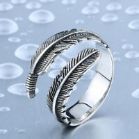 Pretty Adjustable Antique Silver Opening Feather Ring Hypoallergenic New