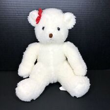 "Vintage Ganzbros Heritage Collection 1988 White Bear 13"" Plush Red Bow Ganz"
