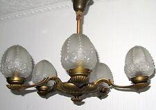 Antik Massiv Messing-Glas  Kronleuchter, Lüster 5 Flammig