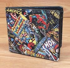Marvel Comic Book Heroes Multi-Color Men's Bifold Leather Wallet Only **READ**