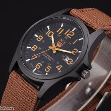 Fashion Men Date Canvas Military Stainless Steel Analog Quartz Sport Wrist Watch