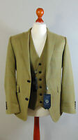 VIYELLA Green 100% Wool Jacket and Waistcoat Herringbone Blazer Set NEW