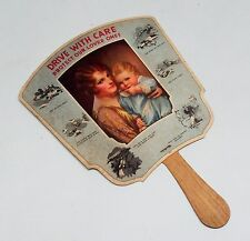Drive with Care Harleysville PA Mutual 1920's Paper Fan Rare Advertising Piece