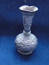 MINIATURE,VASE INDIA CHASED & ENGRAVED STERLING SILVER 1880 NICE STYLE & QUALITY