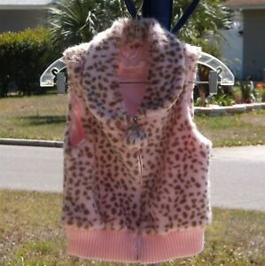 Toby, Girls fully lined, faux fur, animal print vest, size 7 - 14 USA