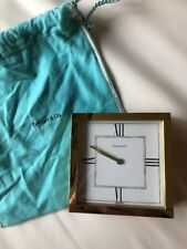 Tiffany & Co. Atlas Brass Swiss Made Table Desk Clock Travel Personalized 1997