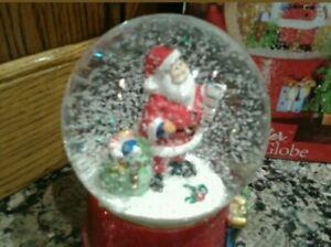 christmas santa snow globe 17cm high santas list