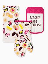 "Kate Spade ""Eat Cake"" 3 Piece Kitchen Set Oven Mitt,Towel, Pot Holder"