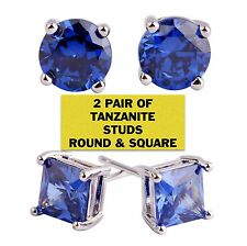 1.00 Ct Round Cut Tanzanite  14K White Gold Stud Earrings 5mm