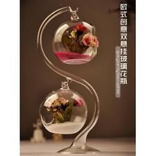 2Sets Hanging Glass Ball Vase Flower Plant Pot Terrarium Container Home Deco