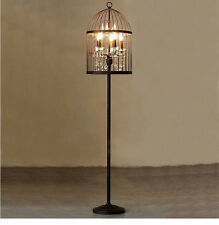 French Provincial Bird Cage Crystal Chandelier Rustic Brown Floor Lamp 165cm
